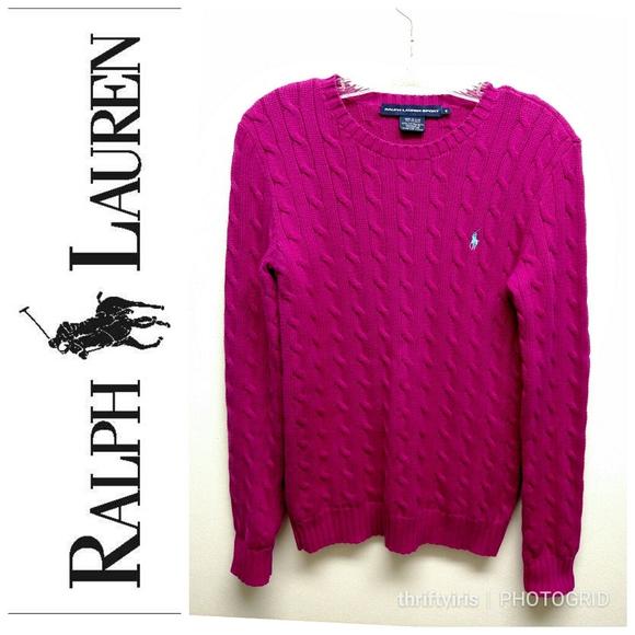Ralph Lauren Sport-Raspberry Cable Knit Sweater-M